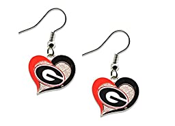 NCAA Georgia Bulldogs Swirl Heart Errings