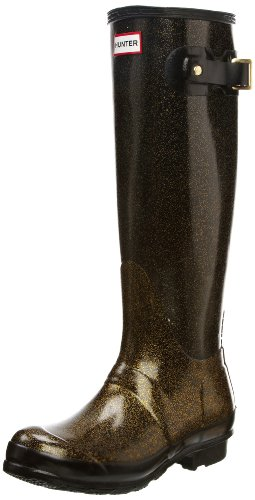 Hunter Original Tall Glitter Finish Wellington Boots - Black