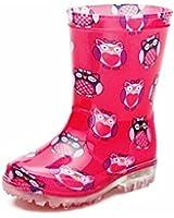 Boys Girls Kids Wellies Flashing Sole Dino Owl Wellington Boots Winter Rain Boot Size