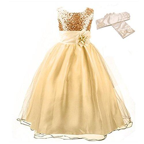 GenialES® Vestido con Guantes Largos de Fiesta para Niñas Disfraz de Princesa Linda Dulce Bonito Cute Wedding Party Dress a Partir de 4 a 15 años Amarillo