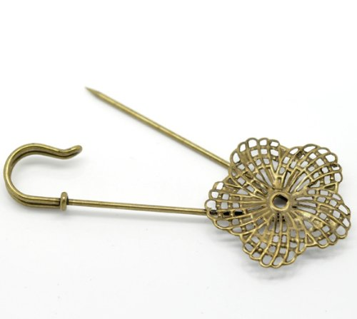 10 Bronze Tone Flower Safety Pins Brooches 8.3X3.4Cm