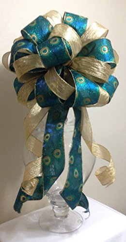 Christmas Tree Topper - Peacock and Gold Christmas Tree Topper Bow - Holiday Decoration Bow - Handmade Bow - 12