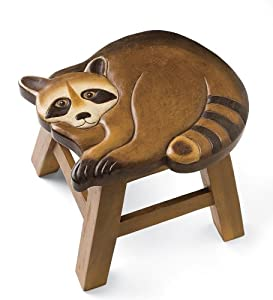 Amazon Com Hand Carved Wooden Stools In Raccoon