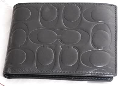 Coach Embossed Mens Bifold Passcase Id Wallet 74064 Black