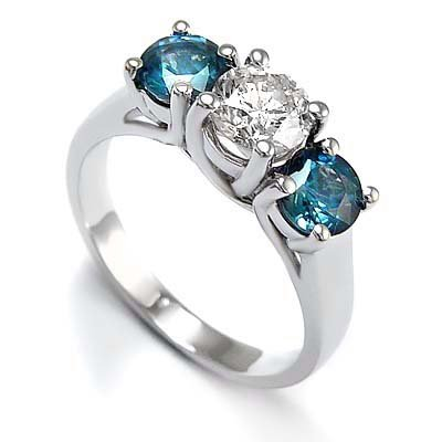 3 Stone Round White Diamond & Blue Diamond Accented Ring in 14K White Gold (1/2 ctw)