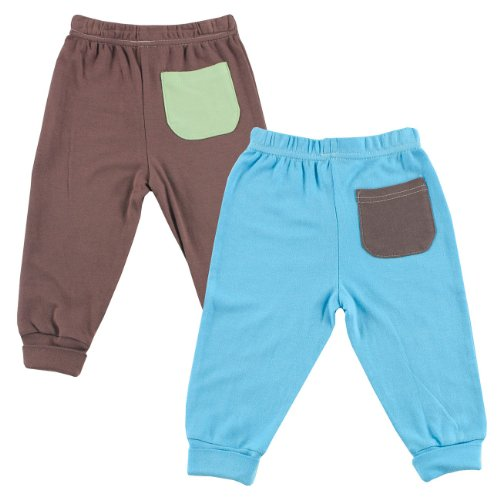 Hudson Baby Bamboo Pants 2-Pack, Blue, 0-3 Months front-601849