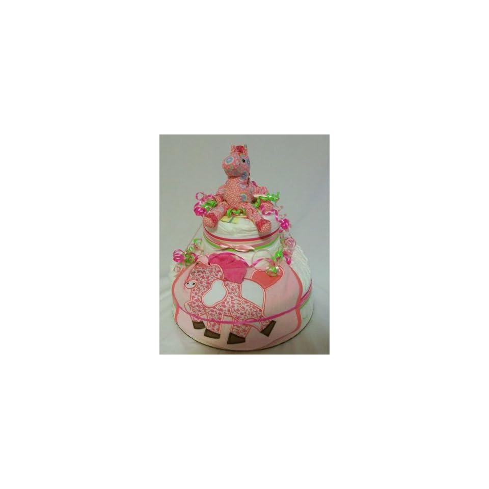 Baby Girl Shower/Baby Gift Pink Horse Diaper Cake Baby