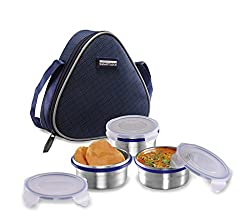 Smart lock Classic Steel Airtight Tiffin pack with insulated Bag, 200 ml, Silver, Set of 3