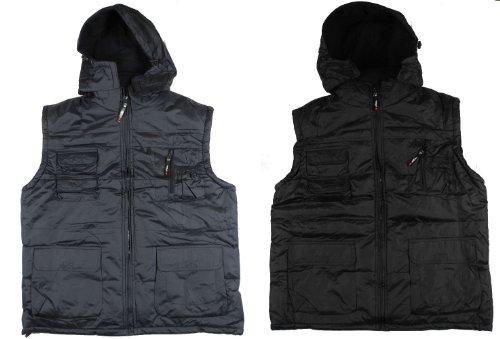 Mens Padded Hooded Gilet Sleeeveless Jacket Waistcoat Fishing Black Blue M-3XL