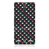 Ecell - HEAD CASE GREEN & PEACH MULTI-COLOURED HEARTS BACK CASE FOR SONY XPERIA S LT26i