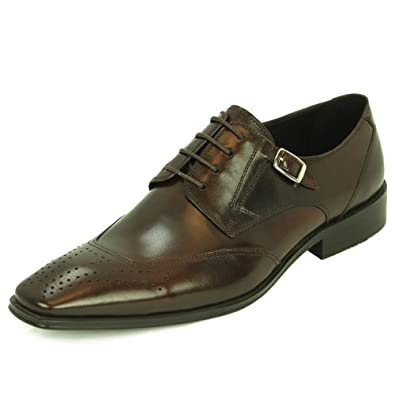 Natazzi Italian Napa Calfskin Leather Shoes Hand Made Men's Blucher Lace-Up Wingtip Oxford Model Pisa L-3030 Coffee Brown (8 D(M) US / 41 (M) EU)