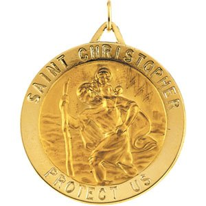Saint Christopher Gold Round Medal 14kt