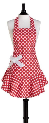 Jessie Steele Josephine Polka Dot Apron, Red and White [Kitchen & Home]