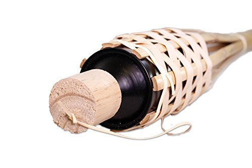 Island Tiki Torch Bundle (12 Pack) WITH CAPS 4FT/48IN Bamboo Torches - Sharp Angled Bottom Tip for EASY