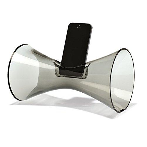 Holmegaard Lautsprecher aus Glas akustischer Verstärker für Iphone 4, 5 und 6A Urania, smoke