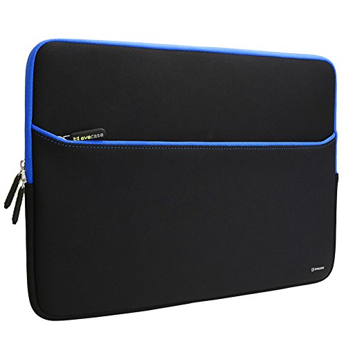 Evecase 17.3-Inch Ultra-Slim Neoprene Padded Sleeve Case Bag w/ Accessory Pocket for Laptop/Gaming Laptop/Notebook/Ultrabook (Black and Blue Trim)
