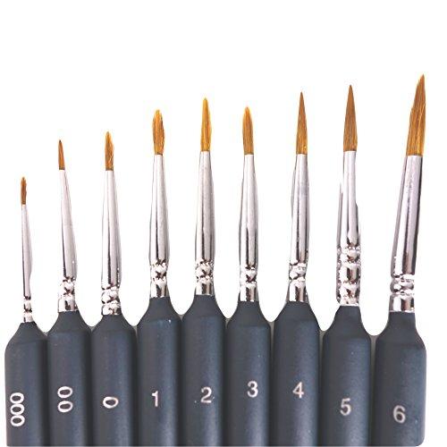 面相筆 9本 セット ( 太さ #000-#6 )( 極 細 小 中 大 フィギュア 塗装 用品 プラモデル 模型 筆 )