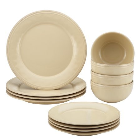 Rachael Ray Cucina 12 Piece Dinnerware Set, Stoneware Almond Cream (Cream Dinnerware Set compare prices)