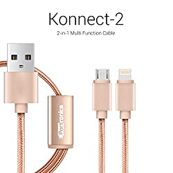Portronics Konnect-2 two-in-one Multi function cable with lightning & micro usb port-Golden