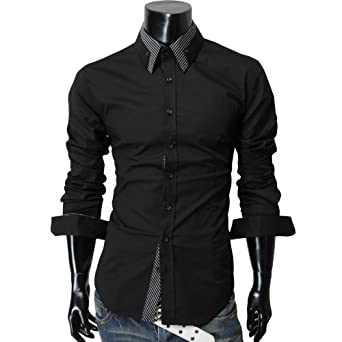 TheLees Men's long double collar cuff slim dress Shirt at