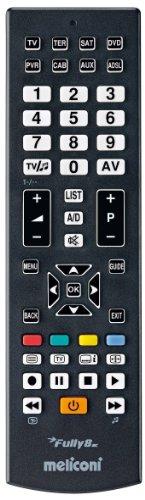 Meliconi FULLY 8 Telecomando Universale 8 in 1 per TV, Decoder, DVD/Blu Ray, Box Multimediali + IPTV + Xbox360 + PS2, Controlla fino ad 8 Apparecchi Contemporaneamente