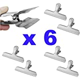 Big Stainless Steel Bag Clips for Air Tight Seal Grip on Coffee Bags, Kitchen Food Storage 6 Pack