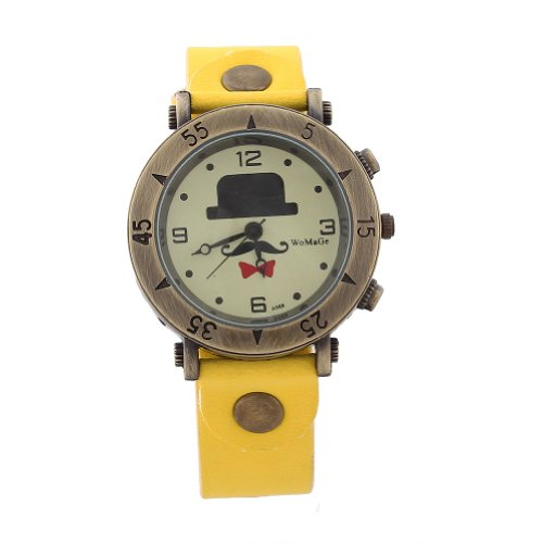 WLM Unisex Girls Boys Yellow Band Cute Cartoon Design Leatheroid Quartz Wrist Watch Watches Clock