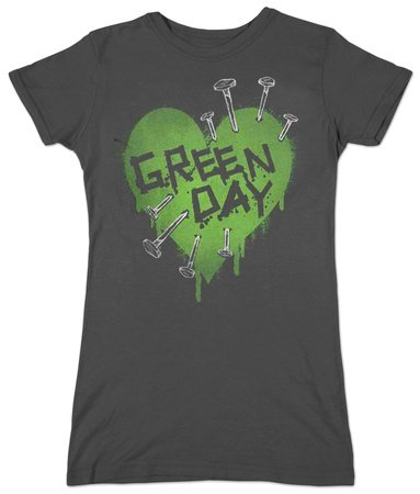 Green Day - - Nail Heart T-Shirt ragazza in nero