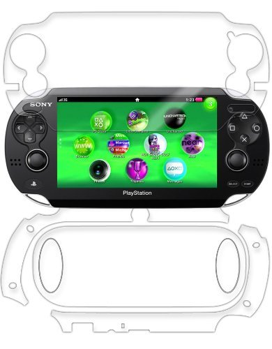 TechSkin with Anti-Bubble Clear Film Screen Protector Full Coverage Skinomi Black Carbon Fiber Full Body Skin Compatible with Sony PSP 3000
