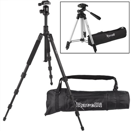 Ravelli Professional Carbon Fiber 3 Axis Ball Head Camera Video Photo Tripod with Quick Release Plate and Carry Bag