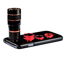 Apexel 4 in 1 Supreme Camera Lens 8x Telephoto Lens/Fisheye Lens/ Wide Angle + Macro Lens with Back Cover Case for Samsung Galaxy S4 Red