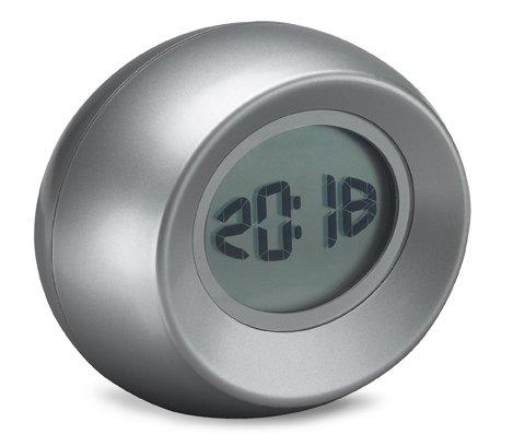 LCD-Uhr mit beweglichen Ziffern, Ziffern bewegen sich bei Berührung des Gehäuses, Datum, Wecker, Kunststoff, mattsilber, inkl. Batterien, in Geschenkverpackung, CE