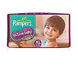 Pampers Active Baby Extra Large Size Diapers  (56 count)