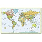"""World Wall Map Deluxe Laminated 50"""" x 32"""" (M Series Map of the World)"""