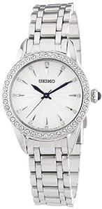 Seiko Damenuhren SRZ385P1 - Reloj analógico de cuarzo para mujer, correa de acero inoxidable color plateado
