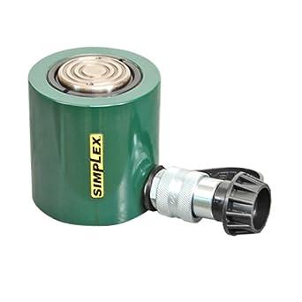 "Simplex RLS101 13028 Hydraulic Steel Low Profile Jack Spring Return Cylinder with 10 ton Capacity, 8940 psi Pressure, 1-11/16"" Bore, 1-1/2"" Stroke"