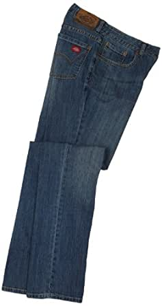 Dickies Women's Relaxed Fit Straight Leg Jean,Stone Washed Bleached Handsand,18 Petite