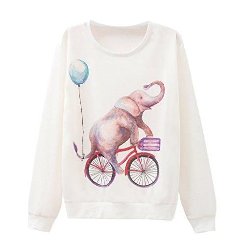 Mdchen-Akrobatik-Radfahren-Elefant-Pullover-Franzsische-Terry-Cartoon-Sweatshirt