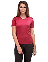 Oleva Ladies V Neck Maroon T-shirt OTS-1-Maroon S