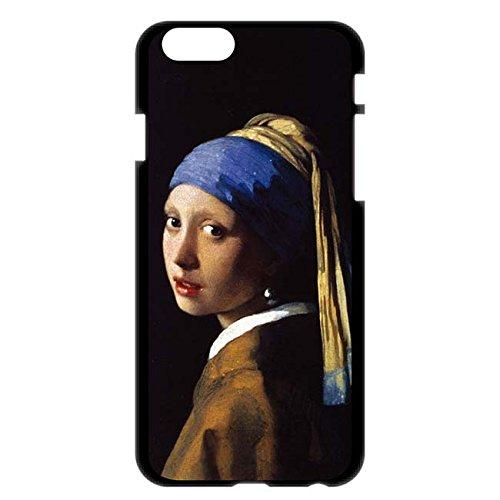 iPhone6/6s 4.7インチ ケース カバー 西洋名画 ヨハネス・フェルメール 真珠の耳飾りの少女/ブラック