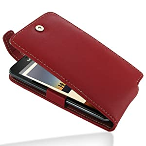 PDair Leather Case for Samsung Galaxy Note GT-N7000 - Flip Top Type (Red)