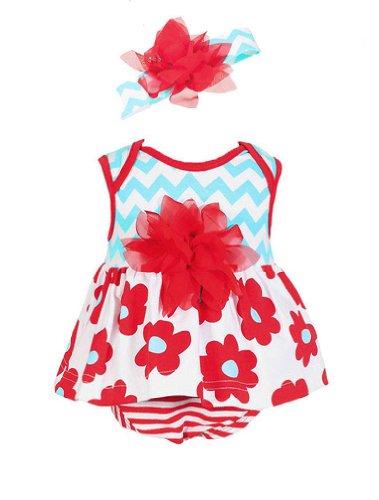 Peaches N Cream Baby-Girls Infant Aqua Red Chevron Floral Bubble & Headband Set, 24 Months