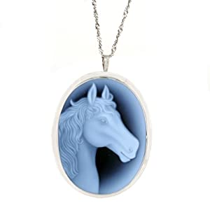 Sterling Silver Italian Blue Agate Horse Profile Cameo Pin-Pendant Necklace, 18""