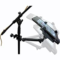 "ChargerCity Dual Joint Rotate Adjustable Aluminum Pole/Bar C Clamp Podium Orchestra Music Mic Microphone Stand Mount (10"") for with Universal 7""-11"" Tablet holder compatible w/ Apple iPad 5 4 3 2 Air Mini Retina Samsung Galaxy Tab Note AMZ Kndle Fire HD H"