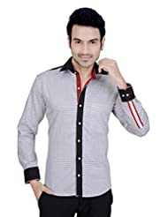 Arany's Premium White Printed Slim Fit Party Wear Shirt For Men - F5646