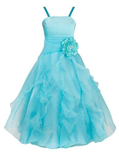 TIAOBU Girls Princess Organza Flower Tutu Wedding Party Pageant Gown Dress Sky Blue 8