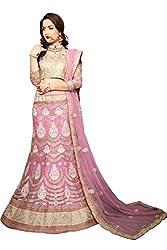Jiya Presents Embroidered Net Lehenga Choli(Light Pink,Beige)