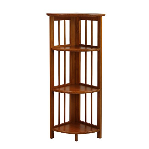 Casual Home 4 Shelf Corner Bookcase, Honey Oak (Corner Accent Table compare prices)