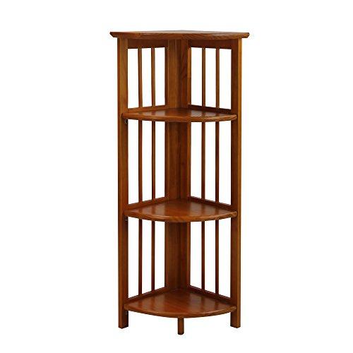 Casual Home 4 Shelf Corner Bookcase, Honey Oak
