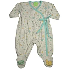 Snopea - Newborn Girls Long Sleeve Footed Soap Suds Coverall, White, Aqua 29267